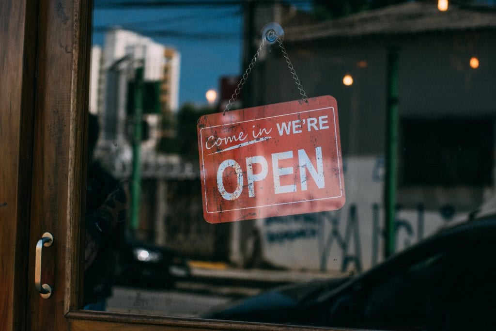 Open sign on Business
